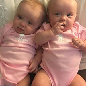 twin girls 8 months old