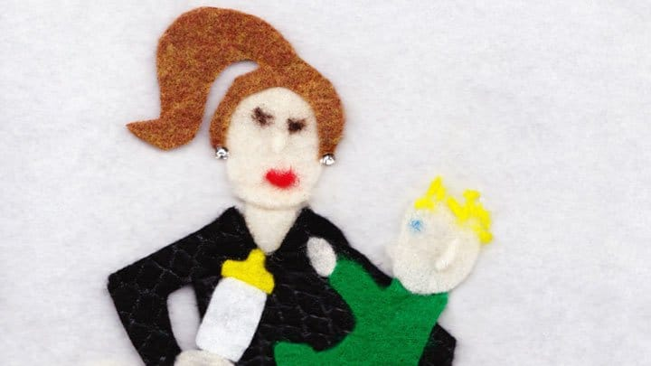 Felt image of Vivian Caldwell and son