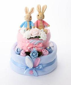 twin diaper cake for twin boy and girl