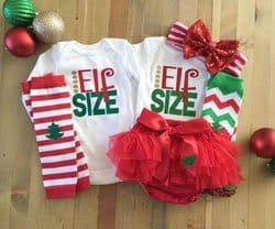 Twins Christmas outfits elf's