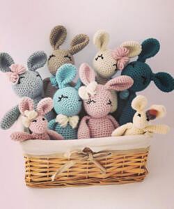 crochet bunnies twin baby shower gifts