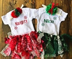 twin Christmas outfits for girls with tutu