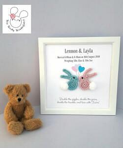 gift frame for twin baby shower