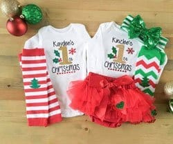 twins first Christmas outfits