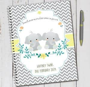 twin pregnancy journal book with elephants