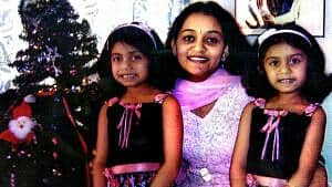 Indian mom with twin girls