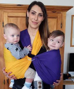 Mariella with twins in sling