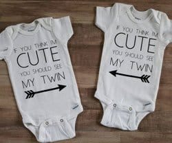 if you think I'm cute twin onesie