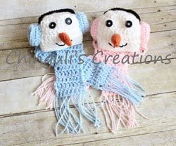 snowman hats and scarfs for twins