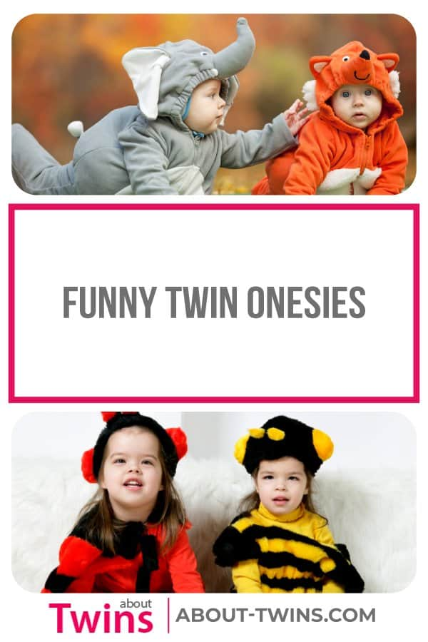 A collection of funny twin onesies.