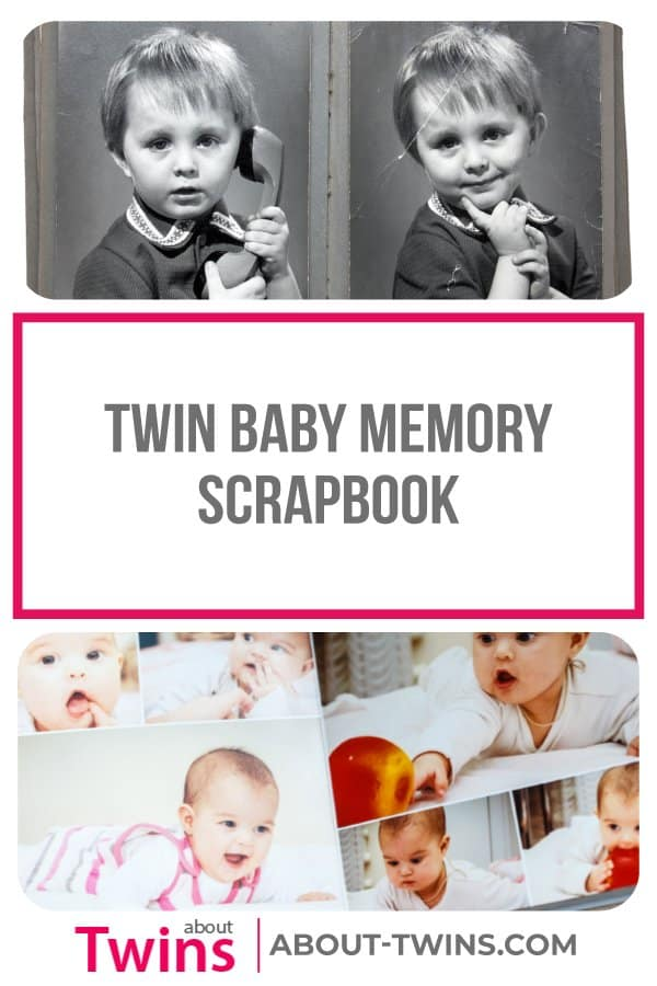 A collection of twin baby memory scrapbooks.